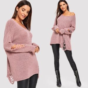 Distressed ripped sweater pink oversized